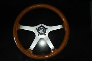 Rare Vintage Bmw Wood Steering Wheel W hub Made In Italy Mint
