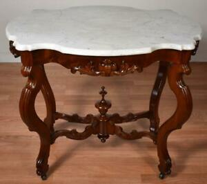 19th C Antique Victorian Eastlake Walnut White Marble Top Center Side Table