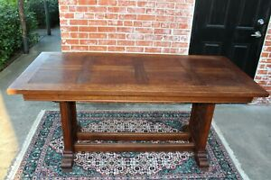 French Antique Oak Wood Gothic Dining Table Library Table