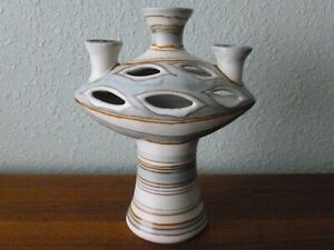 RARE Glidden Pottery Fenestrated Candelabra Vase Fong Chow Mid Century Moderne