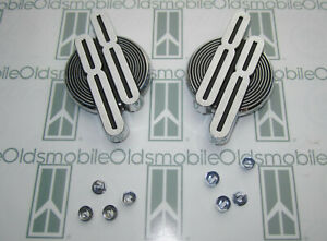 1956 Oldsmobile Super 88 Fender Emblem Numeral Badges W Hardware Chrome Pair