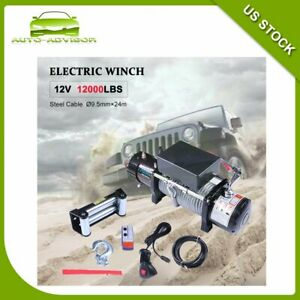 Fit For Jeep 12000lbs Electric Winch Towing Trailer Steel Cable Off Road 12v