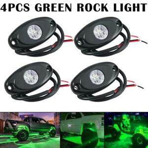 4x Green Led Rock Light For Car Boat Jeep Truck Bed Under Body Fog Lights 12v