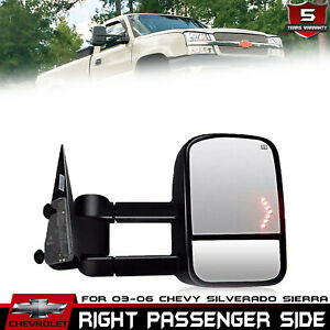 Passenger Side Tow Mirror Power Heated Arrow Signal Black For Gm Pickup Suv New