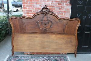 French Antique Carved Solid Walnut Louis Xv King Size Bed Headboard