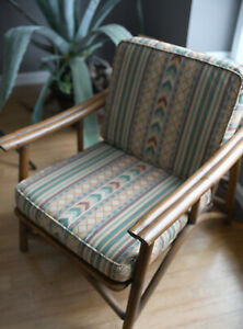 Ficks Reed Vintage Campaign Rattan Lounge Sofa And Lounge Chair
