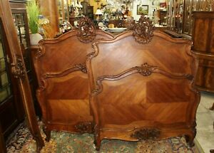 Pair Of French Antique Carved Walnut Louis Xv Twin Size Bed