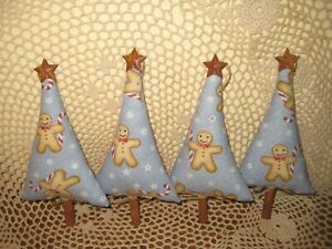 4 Gingerbread Trees Ornaments Fabric Bowl Fillers Country Christmas Home Decor