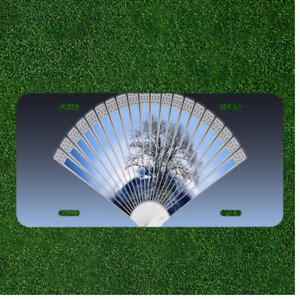 Custom Personalized License Plate Auto Tag With Chinese Folding Fan Design New