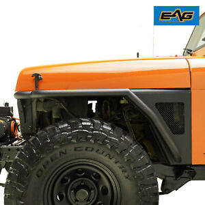 Eag Front Tube Fender Flare Rocker Guard W mesh Fit 87 96 Jeep Wrangler Yj