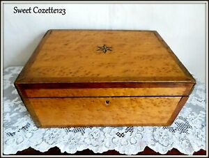 Victorian Box Chest Inlaid Burl Fruit Wood Orig Silk Velvet Lining Must See