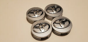 4x Toyota Wheel Rims Center Hub Cap Caps Silver Base Chrome Logo 62mm Camry Mor