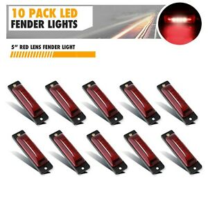 10 Pack Red 6 Led Side Marker Lights 5 Truck Trailer Sealed Clearance Light