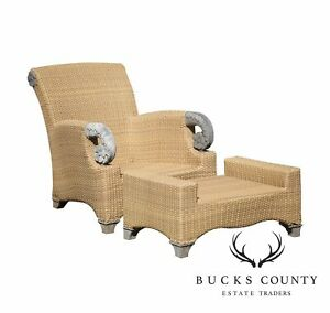 Brown Jordan Tommy Bahama Teak And Outdoor Wicker Lounge Chair With Ottoman