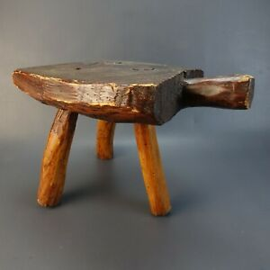 Wood Three Legged Milking Stool Vintage Stool Primitive Farm Stool Plant Holder
