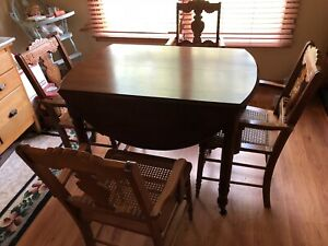 Antique Victorian 1880s Walnut Drop Leaf Table W 4 Eastlake Chairs Gorgeous