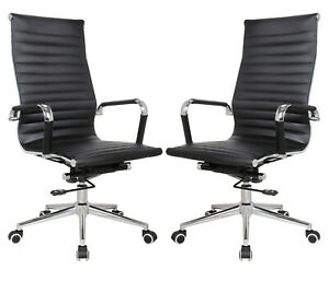 Eames Replica Black Vegan Leather Executive High Back Office Desk Chair 2 Pack