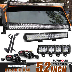 52inch Straight Led Work Light Bar 23 4 4inch Lamp Combo Offroad For Jeep Jk