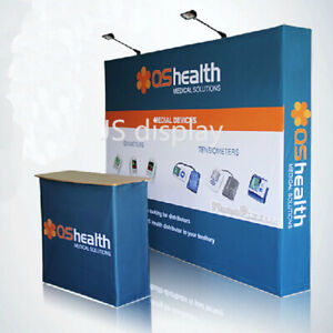 10ft Custom Fabric Pop Up Stand Graphic Print Trade Show Display Back Wall Booth
