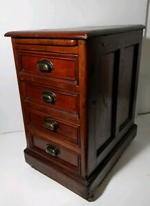 Antique Rolling 4 Drawer Chest Cabinet Cart Solid Wood Dovetailed Art Deco