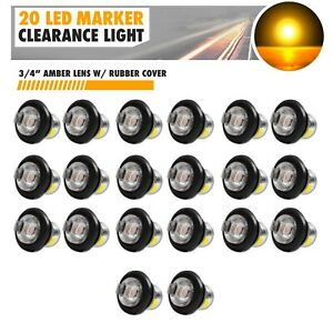 20x 3 4 Clear Lens Amber Light Led Marker Bullet Lights Lamps Truck Trailer Bus