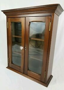 Vintage Walnut Wood Display Cabinet Glass Doors 3 Shelf Curio Wall Mount Counter