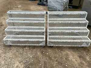 Set Of 2 Commercial 48 Aluminum 4 tier Rolling Steps Risers Display Fixtures