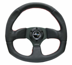 Nrg New Age Sport Steering Wheel 320x330mm Leather W Red Stitch