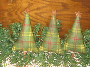 3 Country Christmas Decor Handmade Plaid Fabric Trees Bowl Fillers Ornaments