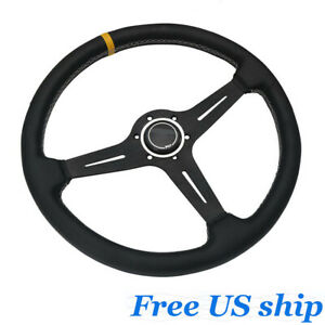 15inch Racing Steering Wheel 380mm Aluminum Frame Black Leather Classic Horn New