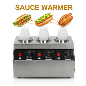 Commercial Electric Sauce Ketchup Warmer 3bottles Heat Preservation Machine 240w