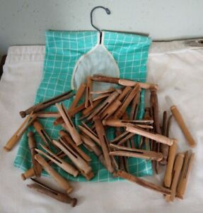 Lot Of 47 Vintage Wooden Clothespins Assorted Sizes Shaped Inc 5 Wire Reinforced