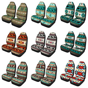Universal Car Front Seat Covers Full Set Of 2pc For Women Aztec Native Horse