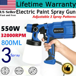 Spray Gun 550w 110v Home Electric Paint Sprayer 3 Spray Modes For Walls Ceiling