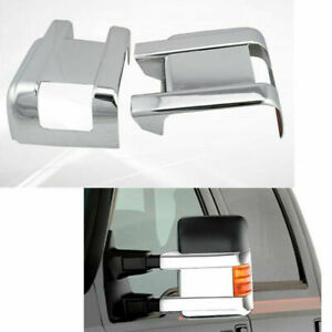 For 08 16 Ford F250 Super Duty Truck Chrome Half Bottom Mirror Covers Caps Pair