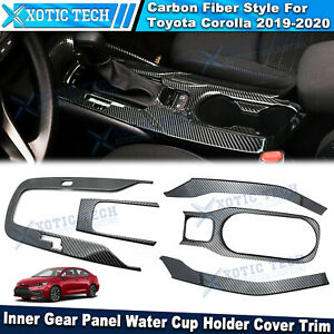 For Toyota Corolla 2019 2020 Carbon Inner Gear Panel Water Cup Holder Cover Trim