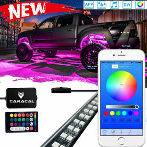 6 Tube Led Neon Rock Light Rgb Bluetooth Control Underglow Offroad Car Truck Kit