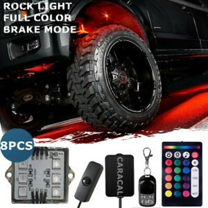 8 Led Rock Lights Aluminum Wireless W switch Music Rgb Color Accent Under Car