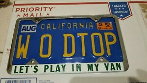 Vintage Nos Let S Play In My Van License Plate Frame Custom Ford Chevy Dodge