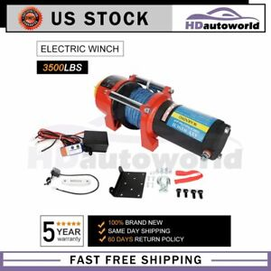 3500lbs Electric Winch Synthetic Rope Winch Towing Truck 4wd Atv Utv