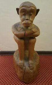 Japanese Wood Carved Saru Sitting Monkey Antique Ainu Large