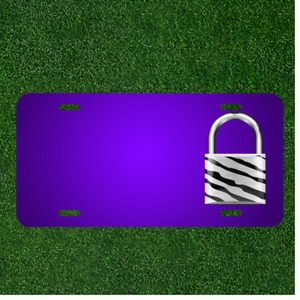 Custom Personalized License Plate With Add Names To Padlock Zebra White Black