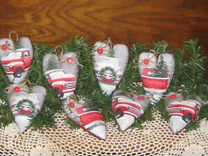 8 Red Truck Fabric Hearts Country Christmas Decor Tree Ornaments Handmade