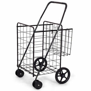 Utility Shopping Cart Foldable Jumbo Basket Outdoor Grocery Laundry W Wheels