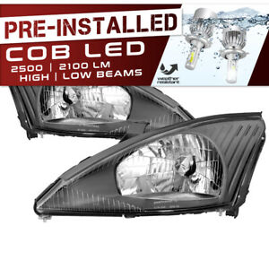 Cree Led Bulb Installed 00 04 Ford Focus Black Replacement Headlight Assembly