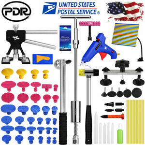 Pdr 68 Auto Body Dent Puller Lifter Paintless Hail Removal Tools Kit Led Light