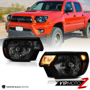 Sinister Black For 12 15 Toyota Tacoma Smoke Headlight Amber Signal Lamp Side