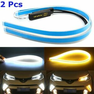 2pcs 60cm Led Drl Slim Amber Sequential Flexible Turn Signal Strip For Headlight