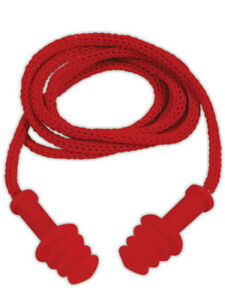 Magid E2 Red Earplugs With Nylon Removable Cord 100 Pairs