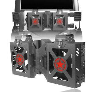 Fit For Wrangler Jeep Jk 07 18 Double Steel Jerry Gas Can Holder Tailgate Mount